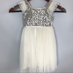 Popatu Silver Sequin Girl Dress, Bridesmaid Easter